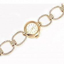 Золотой часовой браслет с фианитами Нефертити