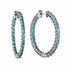 Серебряные серьги-кольца Гвендолин в черном цвете с зелеными сапфирами, 30х40мм