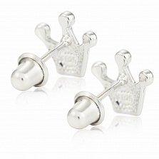 Детские серебряные серьги-пуссеты Корона с сердцем, белыми фианитами и желтой эмалью, 9х10мм