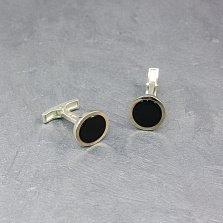Серебряные запонки Тоннели с черным ониксом и золотыми накладками