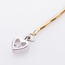 Золотой браслет на ногу Сердце с фианитом