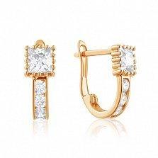 Золотые сережки Красотка с фианитами