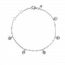 Детский серебряный браслет Сердце с перламутром и подвесками, 5x5мм