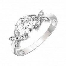 Серебряное кольцо Цветочный миф с цирконием