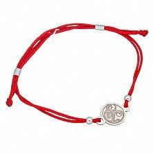 Шёлковый браслет Обезьянка с серебряной вставкой