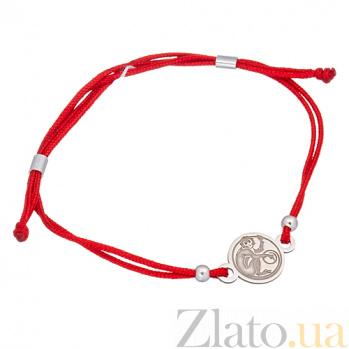 Шёлковый браслет Обезьянка с серебряной вставкой Обезьянка