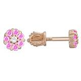 Золотые серьги-пуссеты Весенний цветочек с розовыми фианитами