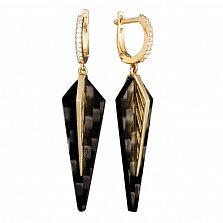 Серьги-подвески из желтого золота и карбона Вечный лист с фианитами