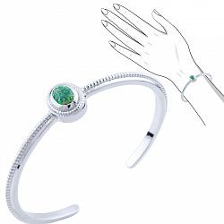Серебряный браслет Иванна с зеленым опалом