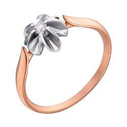 Золотое кольцо Орхидея в комбинированном цвете с бриллиантом
