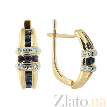Золотые серьги с бриллиантами и сапфирами Одэзи 000021791