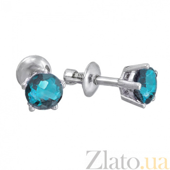 Серебряные серьги-пуссеты с лондон топазом Алисия 2093/9р лондон топ