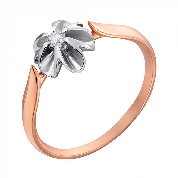 Золотое кольцо Орхидея в комбинированном цвете с бриллиантом EDM--КД7496