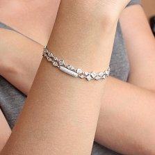 Серебряный двойной браслет На стиле на затяжке с белым цирконием