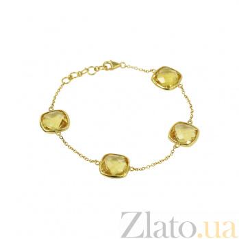 Серебряный браслет с цитринами Солнечное настроение 3Б106-0005