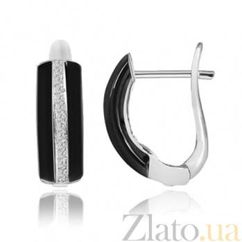 Серебряные серьги с керамикой и фианитами Эстер SLX--СК2ФК/1003