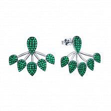 Серебряные серьги-джекеты Турция с зелеными фианитами