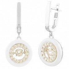 Серебряные серьги-подвески Виола с белой керамикой и фианитами