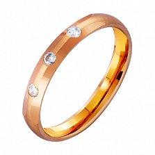 Золотое обручальное кольцо Elegant с фианитами