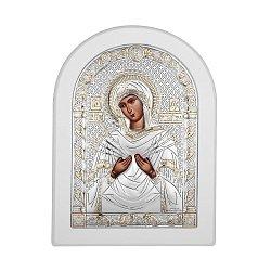 Икона Божия Матерь Семистрельная с серебром в белой деревянной рамке 000140110