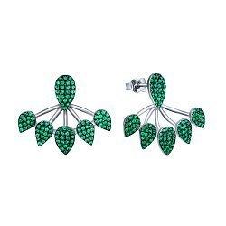 Срібні сережки-джекети Туреччина з зеленими фіанітами 000072599