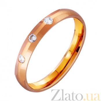 Золотое обручальное кольцо Elegant с фианитами TRF--4121119