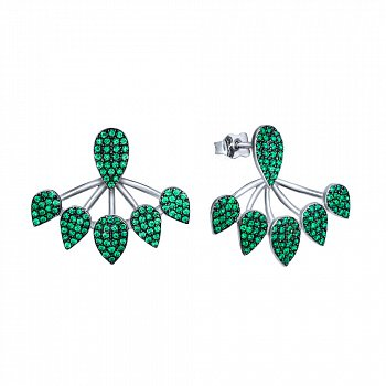 Серебряные серьги-джекеты Турция с зелеными фианитами 000072599