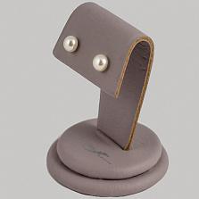 Серебряные серьги-пуссеты Элегия с кабошонами жемчуга 6-6,5мм