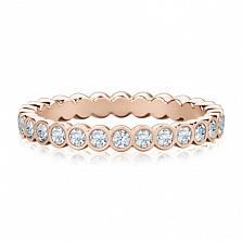 Обручальное кольцо из розового золота Летний дождь