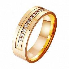 Золотое обручальное кольцо Статус с фианитами