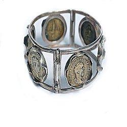 Серебряный браслет Профиль с монетами