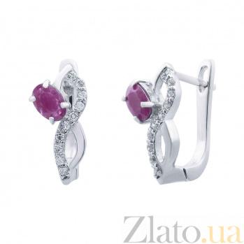 Серебряные серьги с рубином и цирконами Флоренция AQA--E00963Rb