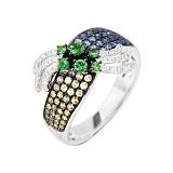 Золотое кольцо с цаворитами, сапфирами и бриллиантами Летний рассвет