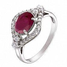 Серебряное кольцо Прага с рубином и фианитами