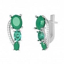 Серебряные серьги Сатин с зеленым агатом, зеленым кварцем и фианитами