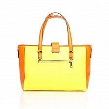 Кожаная деловая сумка Genuine Leather 8949 желтого цвета с оранжевыми вставками
