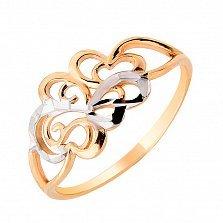 Золотое кольцо Арина в комбинированном цвете с алмазной гранью