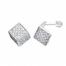 Серебряные серьги-пуссеты Куб с белыми фианитами