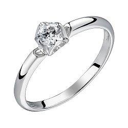 Золотое помолвочное кольцо в белом цвете с бриллиантом 0,1ct 000070563