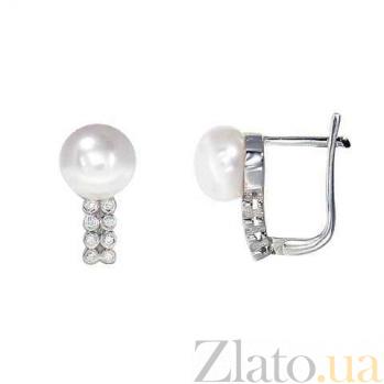 Серебряные серьги Илис с жемчугом и цирконами AQA--E00795PW