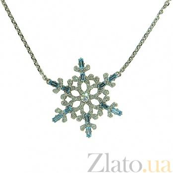 Колье из белого золота с бриллиантами и лондон топазами  Fresh ZMX--NDTl-00329w