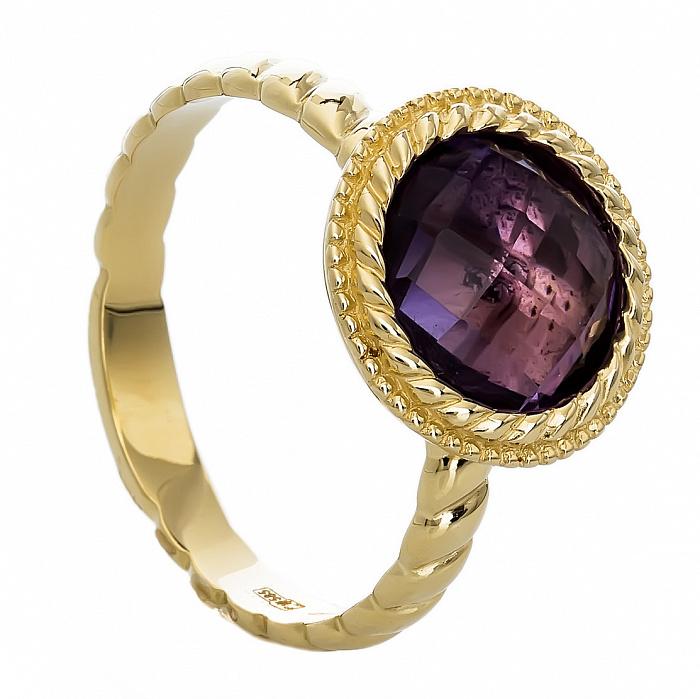 Золотое кольцо с аметистом Бьорн 000030063