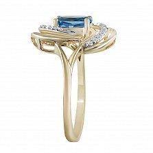 Кольцо из желтого золота Нева с топазом и бриллиантами