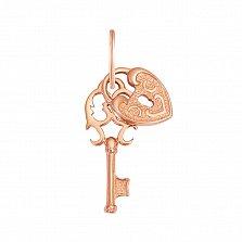 Золотой кулон Ключ от сердца в красном цвете