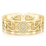 Мужское обручальное кольцо из желтого золота с бриллиантом Во сне и наяву