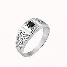 Серебряный перстень Авантюра с чёрным и белыми фианитами