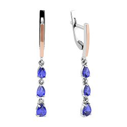 Серебряные серьги-подвески с золотыми накладками, синим альпинитом и родием 000096951