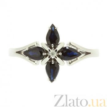 Кольцо из белого золота с сапфирами и бриллиантом Грация ZMX--RS-5504w_K