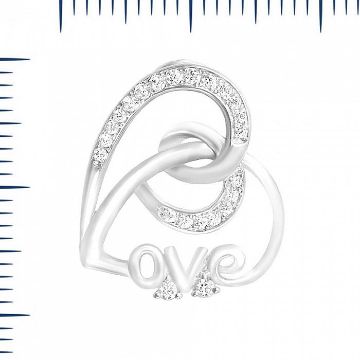 Серебряный подвес Узоры сердца с фианитами 000081753