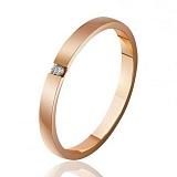 Золотое обручальное кольцо с бриллиантом Богема